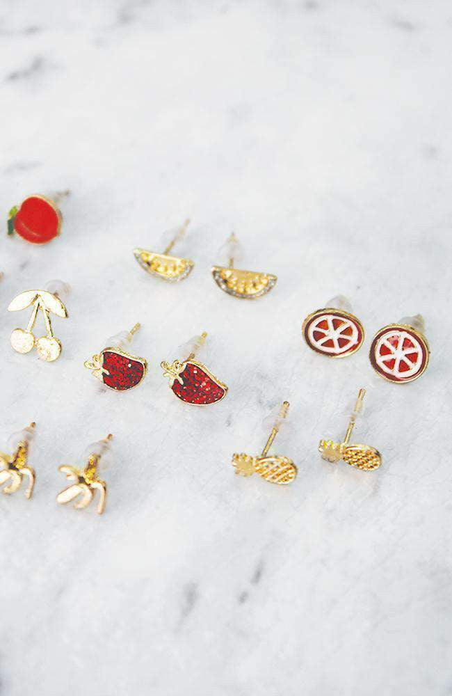 glitter fruit earring collection