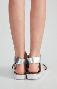 nyc sporty metallic snake vegan leather elastic sandals