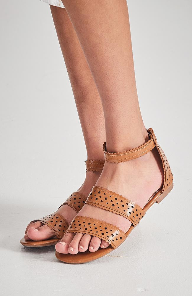 geo lasercut tan vegan leather boho sandals