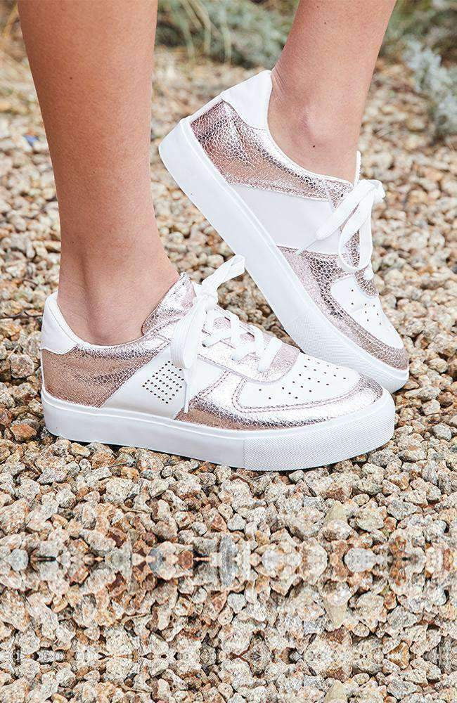 metallic rose gold & white chunky street sneaker