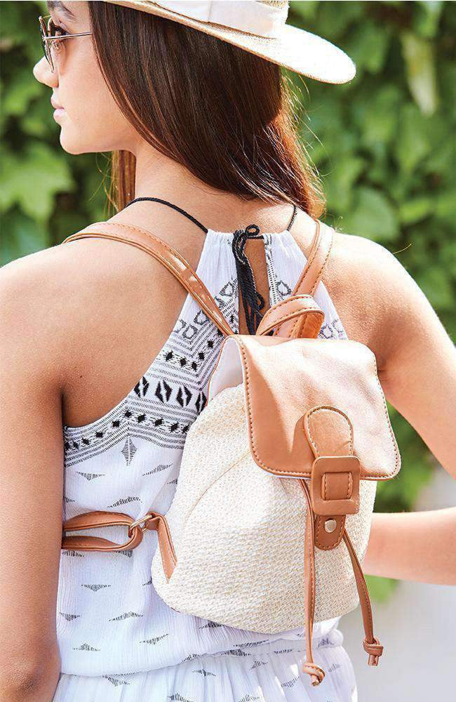 sand dunes straw vegan leather buckle mini backpack