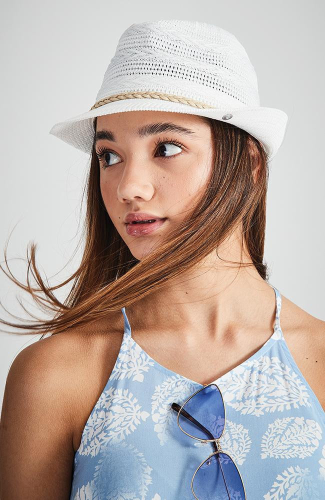 santorini braided white boho fedora hat