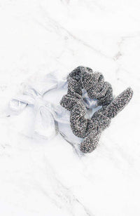 metallic silver & white bow scrunchies