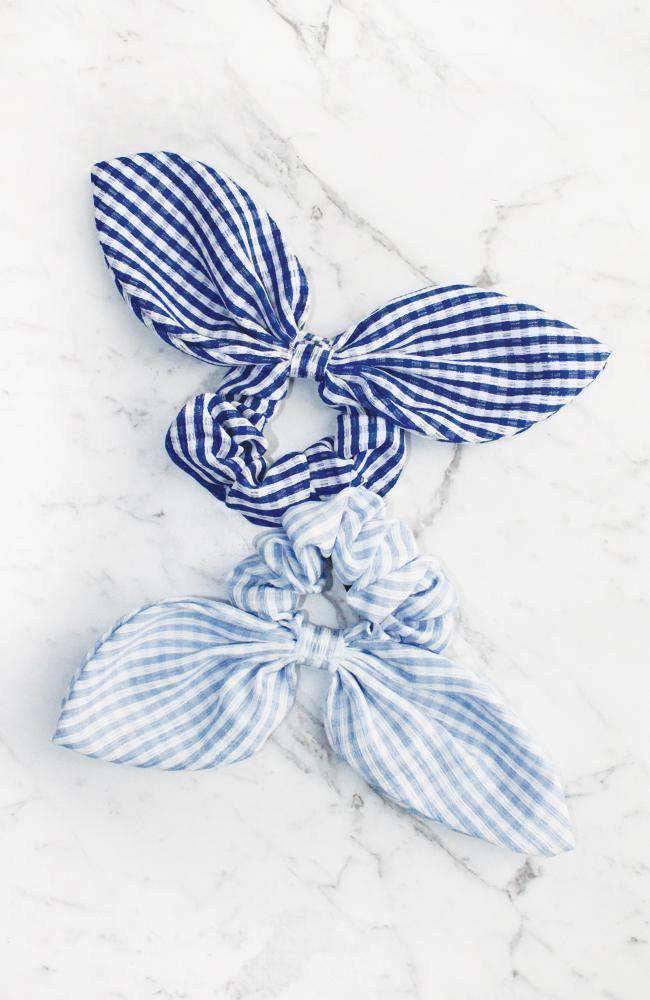 Gingham Vintage Bow Scrunchie Hair Tie 2 Pack