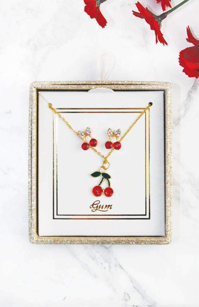 cherry neckalce gift set