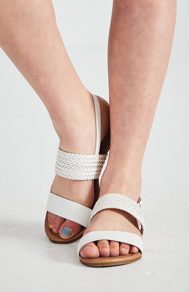 sicily white vegan leather boho braided sandals