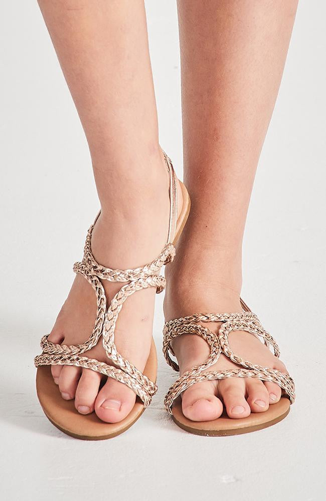 santorini gold metallic braided boho vegan leather sandals