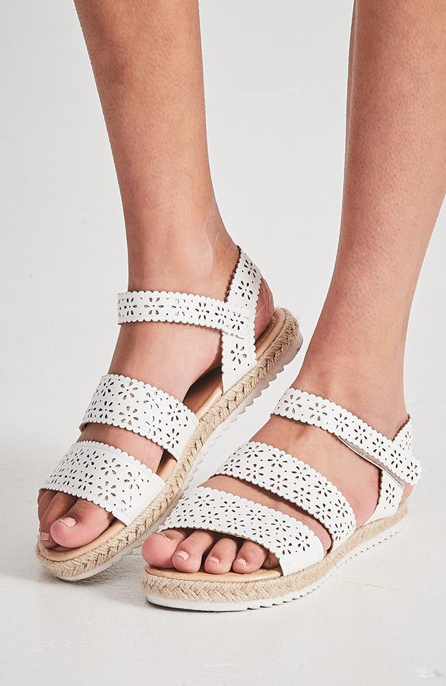 metallic lace sandal
