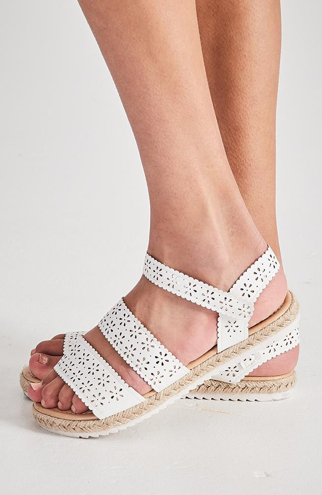 metallic floral lace white vegan leather espradrille sandals