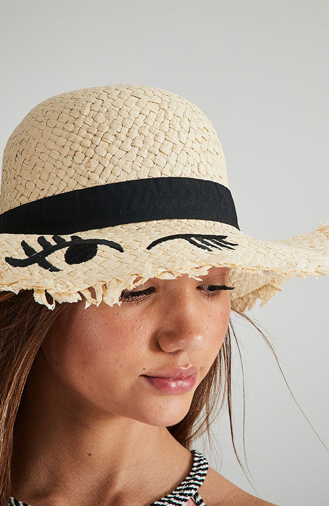 wink embroidery natural straw wide brim party hat