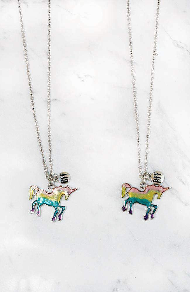 rainbow unicorn bff necklace