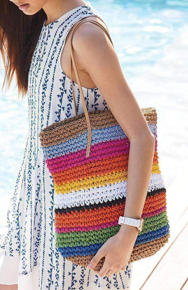 rainbow stripes beach bag
