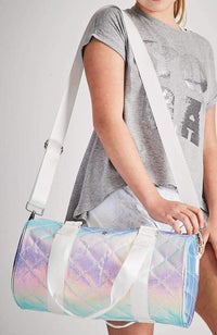 Iridescent Quilted Vegan Leather Duffle Bag