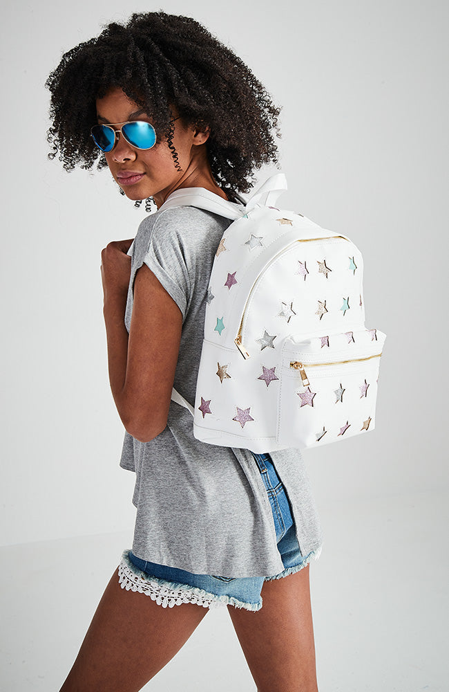 rock star rainbow glitter stars vegan leather backpack