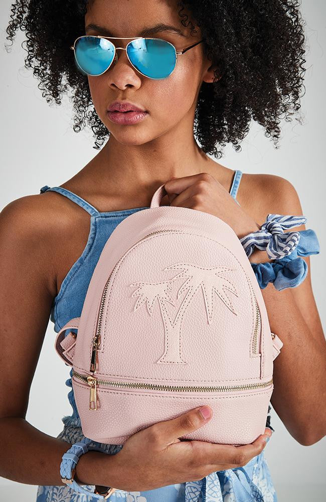 glitter palm tree embroidered vegan leather mini backpack