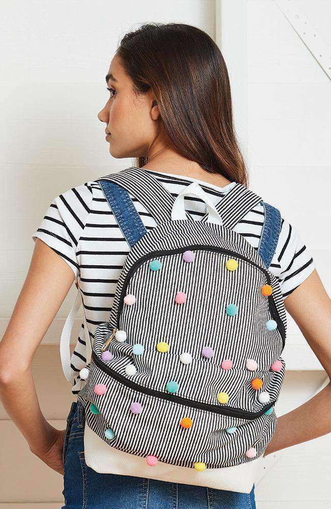 striped rainbow pom pom nautical backpack