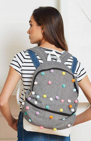 stripes pom pom backpack
