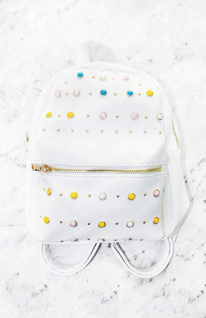 rainbow crystal jewels polka dot white vegan backpack