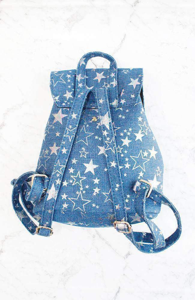 metallic stars silver & blue denim mini backpack