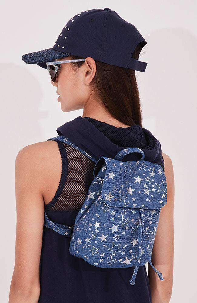 b4073088f499c metallic stars silver   blue denim mini backpack