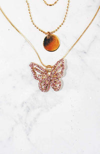 rose butterfly necklace set