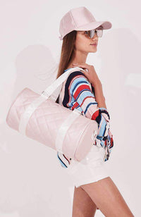 rose pink shimmer quilted duffel bag