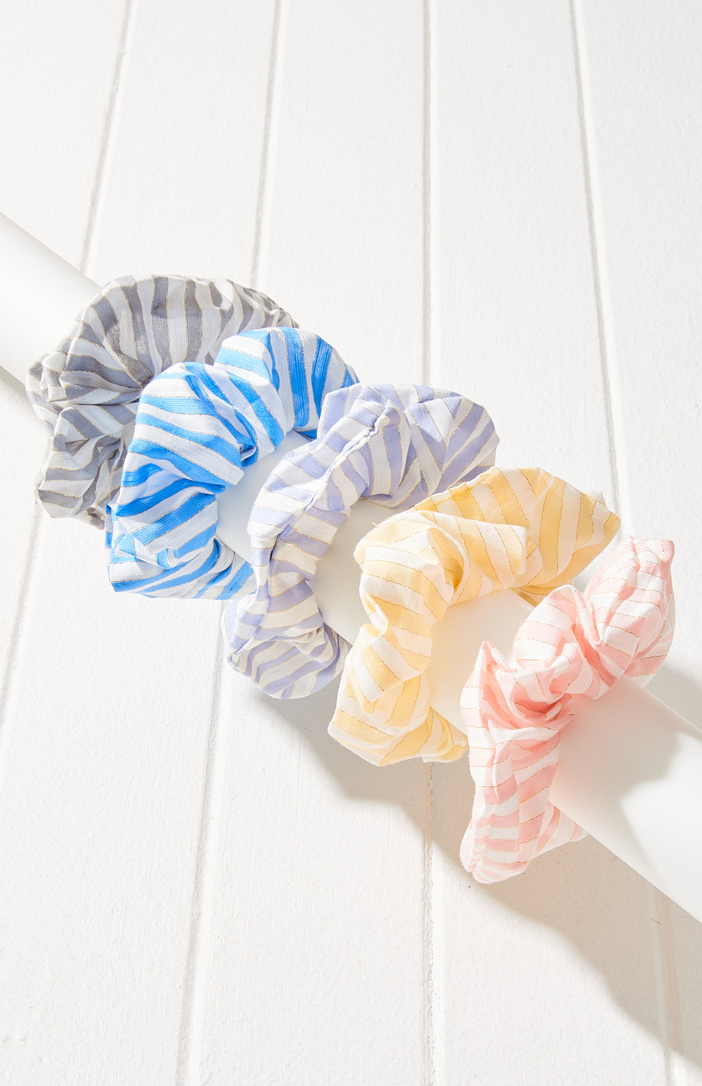 Pastel Striped Scrunchie Hair Tie 5 Pack - Pastel