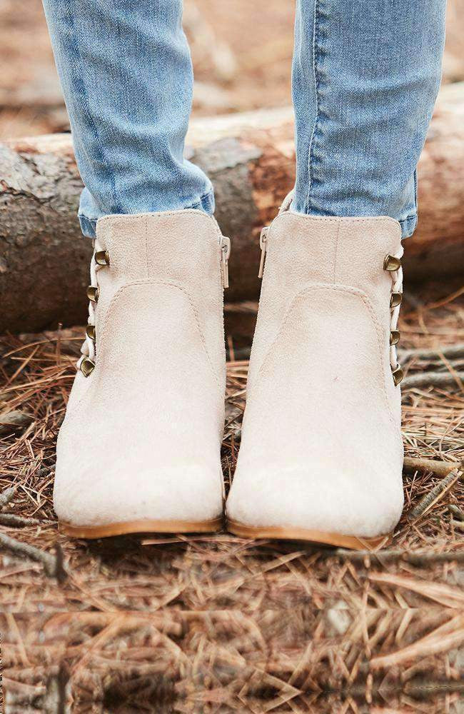 hamptons cream faux suede lace-up ankle boot