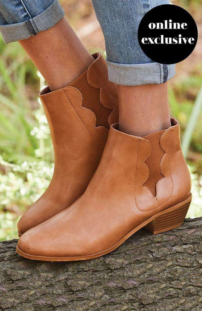 scalloped tan elastic ankle boot