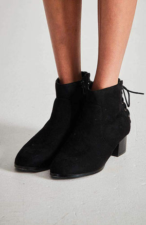 oxford faux suede lace up ankle boot
