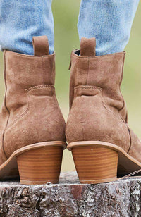 gigi brown faux suede western ankle boot