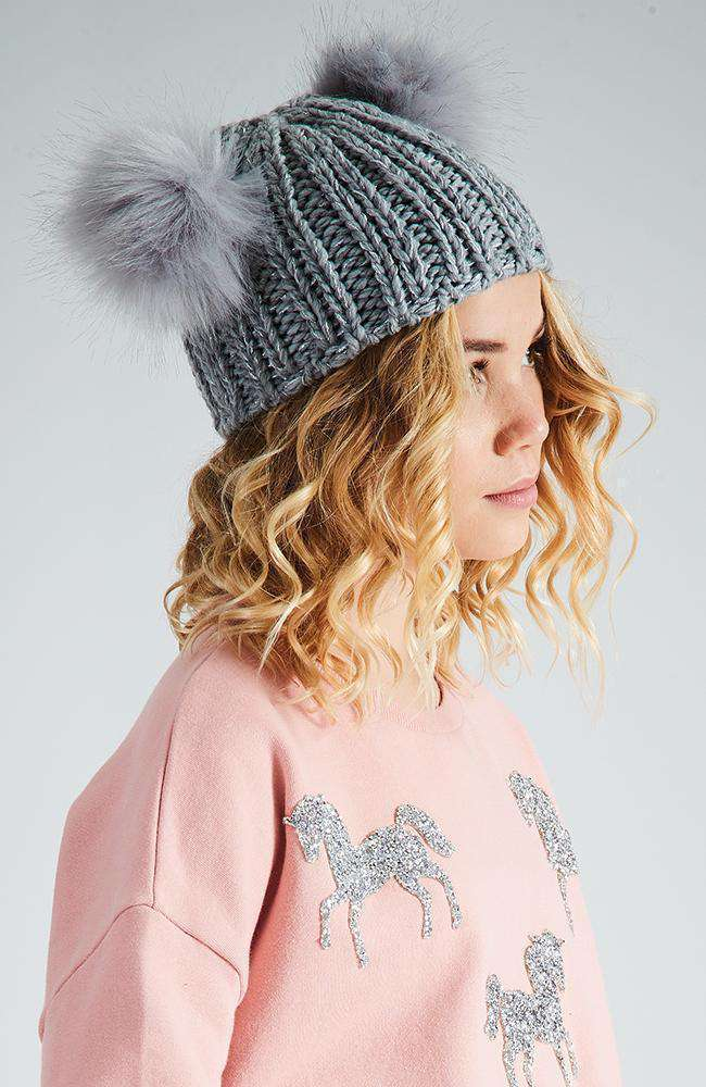 furry friend grey lurex pom pom beanie