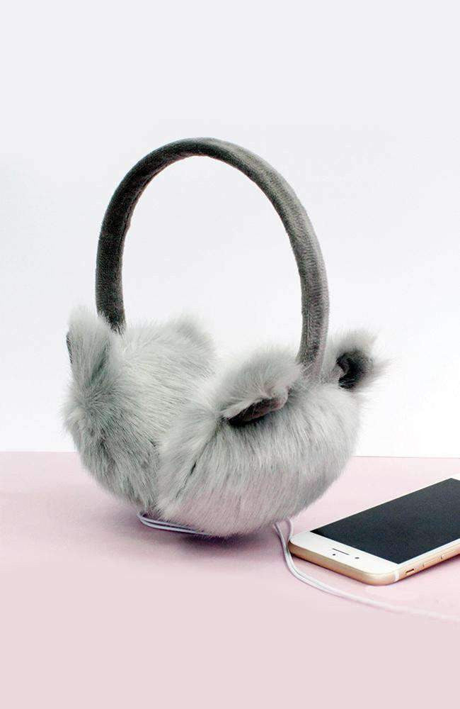 cat grey faux fur headphone earmuffs