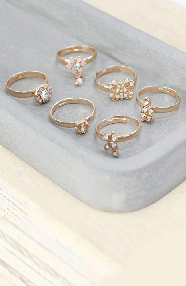 crystal flowers ring set