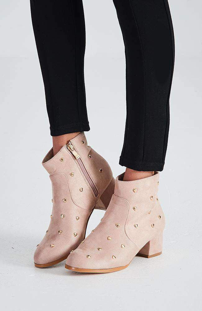 hearts pale pink & gold stud ankle boot