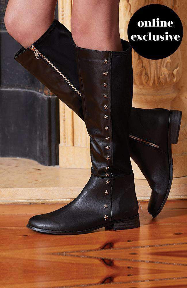 superstar black studded knee high boot