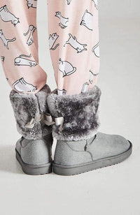 bow faux fur fluffy home boots