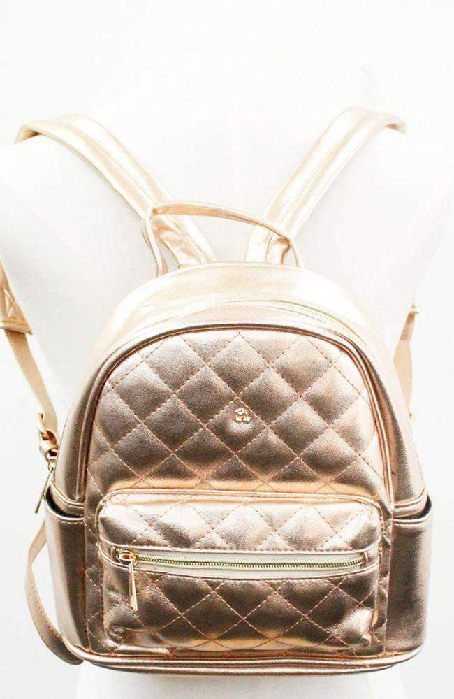 shimmer quilted backpack