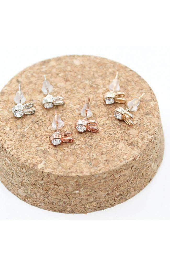 diamond bunny earring set