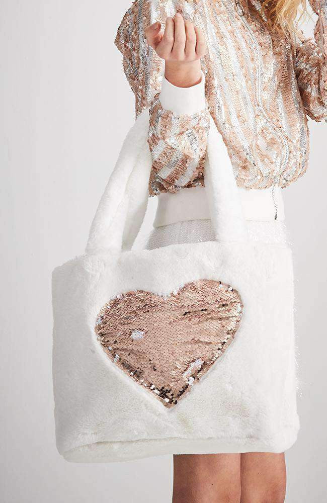reversible sequin heart tote