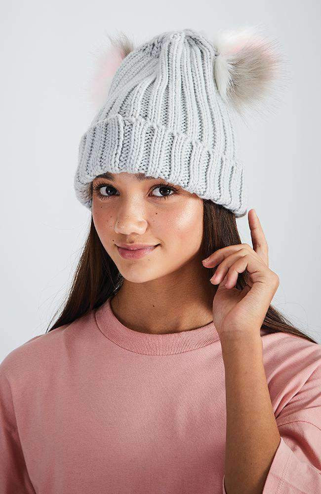 pastel double pom pom grey ribbed beanie