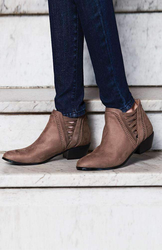 palm springs taupe faux suede lattice ankle boot