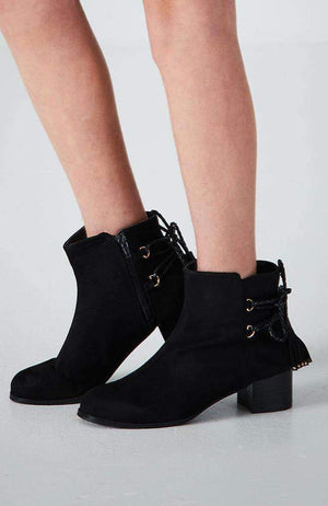 tassle black faux suede ankle boot