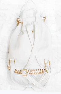 hollywood white & gold stitched backpack