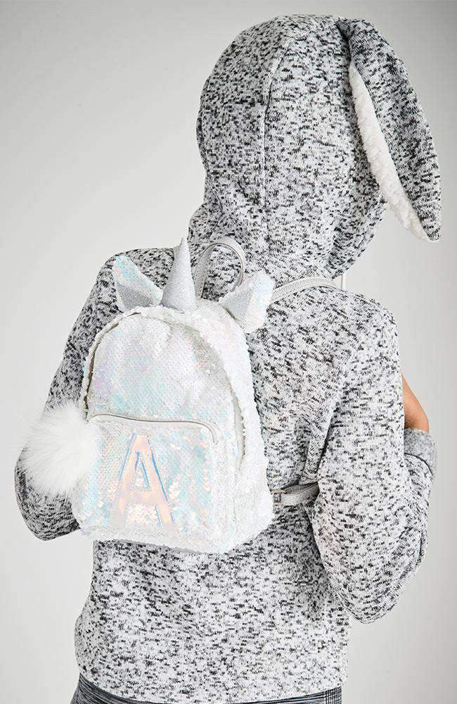 Unicorn Sequins Initial A Backpack - Silver