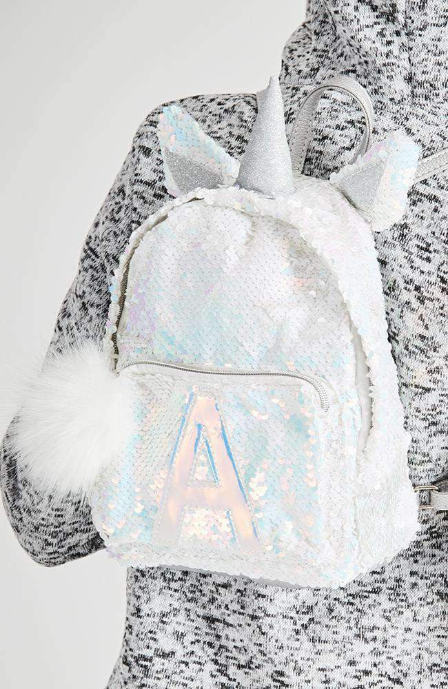 unicorn A applique sequin metallic pom pom backpack