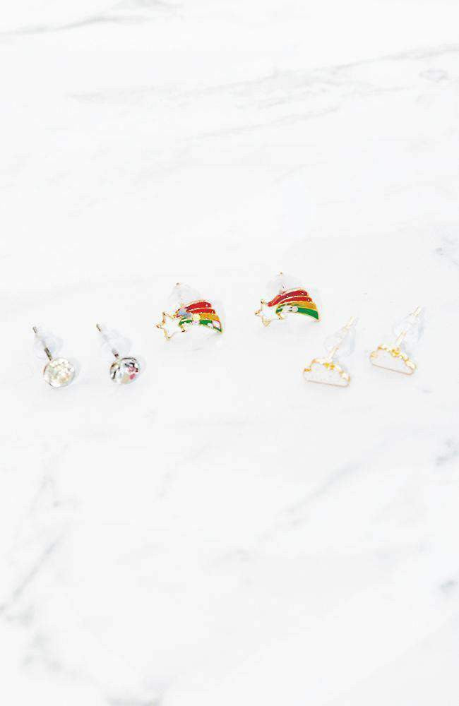 shooting star stud earring trio set