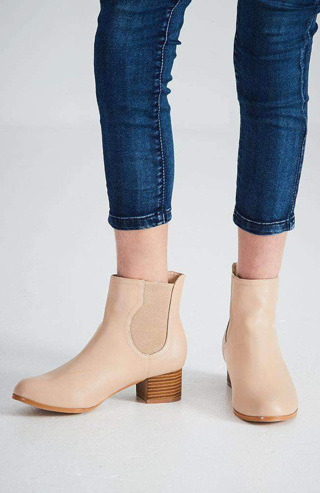 meghan classic cream elastic ankle boot