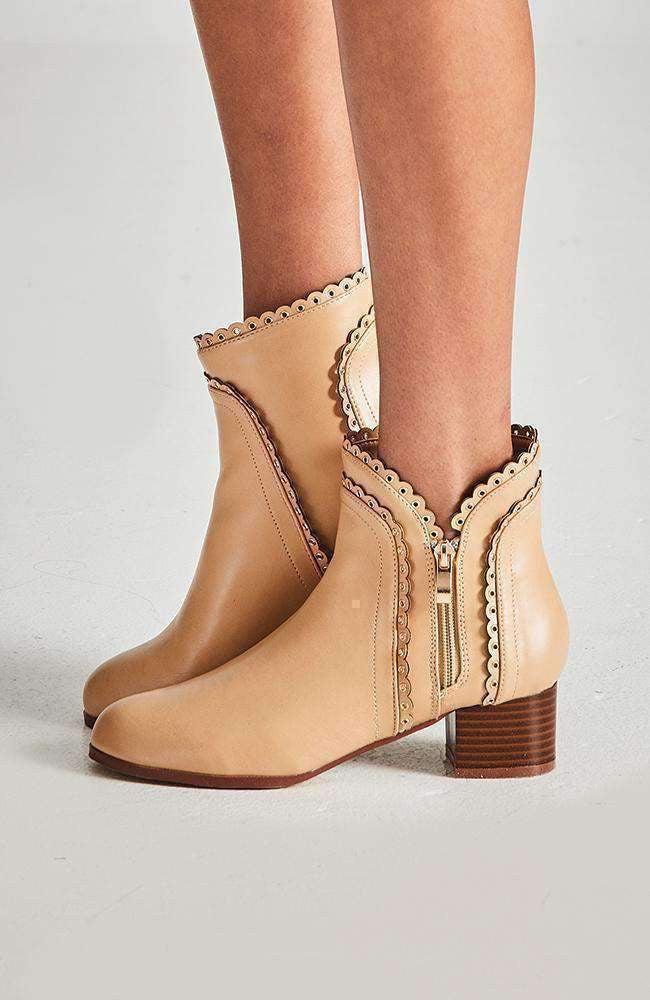 monaco light tan eyelet ankle  boot