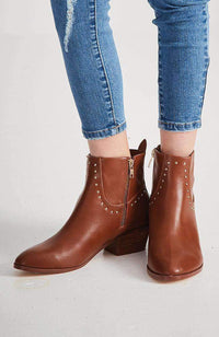 napa tan and gold studs ankle boot